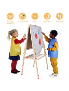 Greensen Kids Easel for Two 3 in 1 Children Easel, Children's Paint and Drawing Artist Easel, Height Adjustable Double Sided Easel and Accessories (6)