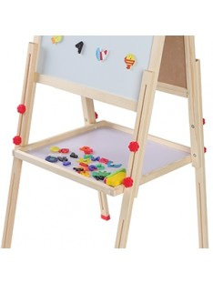 Kids Art Easel Double Side Wooden Magnetic Blackboard Whiteboard Children Learning Easel Painting Chalkboard Gift for Kids with Storage Tray and Magnetic Letters Adjustable Height: 26 - 45 inch