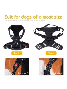Greensen No Pull Dog Harness with Front Clip, Large Dog Adjustable Harness with 2 Metal Ring and Handle Reflective Padded Soft Vest for Outdoor Walking(L)