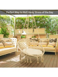 Greensen Swing Hammock Chair Macrame with Cushion,Heavy Duty Hanging Rope Large Swing Perfect for Indoor/Outdoor Patio Yard Garden Reading Leisure Lounging,300 Pound Capacity(Beige)