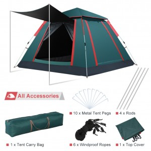 Greensen 3-4 Person Family Automatic Pop Up Camping Tent, Portable Anti UV Water Resistant Windproof Tents for Outdoor Sports Camping