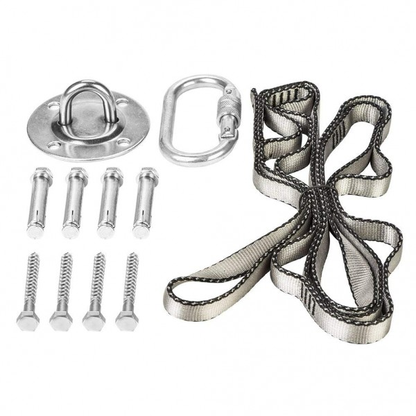 with carabiner and four screws NACTECH 500KG Stainless Steel Swing Hangers Heavy Duty Suspension Hooks 180 /° Rotating Hammock Hook for Indoor Outdoor Concrete Wooden Sets Yoga Chair Sandbag