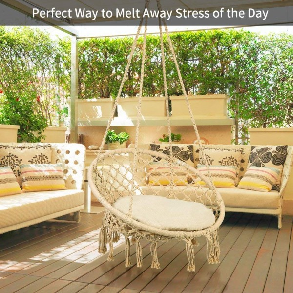 Greensen Swing Hammock Chair Macrame With Cushion Heavy Duty Hanging Rope Large Swing Perfect For Indoor Outdoor Patio Yard Garden Reading Leisure Lounging 300 Pound Capacity Beige